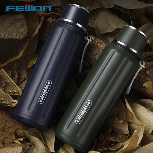 FEIJIAN Double Wall Insulated Water Bottle, Outdoor Travel Sports Bottles, Stainless Steel, 600ml, Thermos For Tea, Thermal Cup