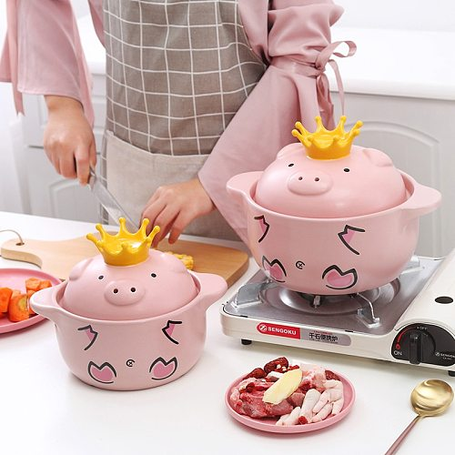 Pink Pig High Temperature Resistance Casserole Handle Ceramic Cookware with Crown Pot Cover Kitchen Supplies Soup Pots
