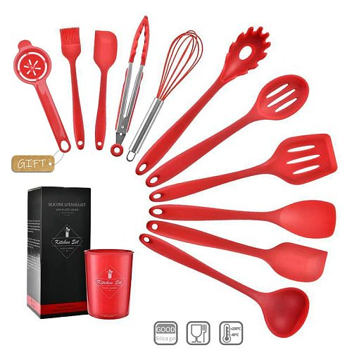 10/12 PCS Heat Resistant Silicone Cookware Set Nonstick Cooking Tools Kitchen Baking Tool Kit Utensils Kitchen Accessories
