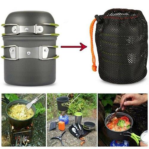 Ultralight Camping Cookware Utensils Outdoor Tableware Set Hiking Hunting Picnic Backpacking Camping Tableware Pot Pan 1-2person
