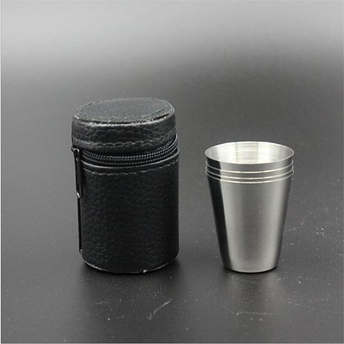 4Pcs/Set 30ML Stainless Steel Polished Wine Drinking Shot Glasses Cup With Leather Cover Case Bag Barware For Home Kitchen Bar