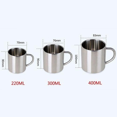 New 220/300/400ml Brief Stainless Steel Tea Beer Mug Coffee Cup Tea Double Wall Camping Drinking Cup