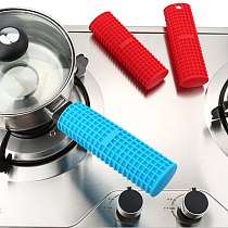 1Pcs Silicone Pan Handle Saucepan Holder Sleeve Heat Resistant Non-slip Cookware Parts Kitchen Tools Insulation Mitts