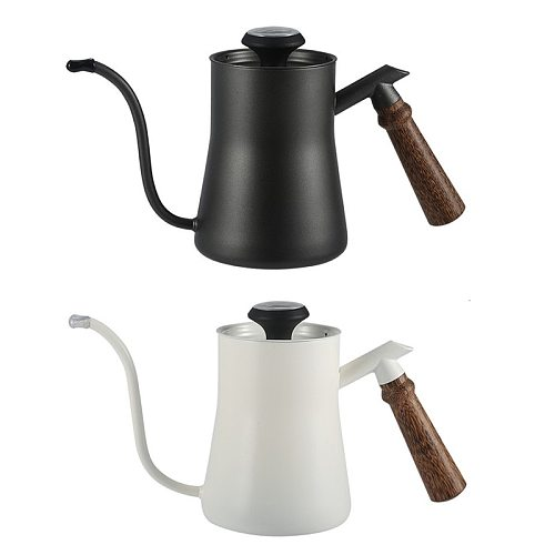 650ml Hand Coffee Pot Household Hanging Ear Pot Mini Stainless Steel Drip Type With Thermometer Thin Mouth Coffee Tea Kettle