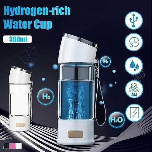 Hydrogen Rich Water Glass Cup 300ml Alkaline Ionizer Maker Water Filter Protable USB Hydrogen Rich Generator Water Bottle