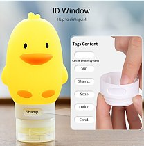 60-100ml Portable Yellow Duck Cartoon Animal Modeling Squeeze Bottle Silicone Lotion Travel Bottle Empty Cosmetic Containers