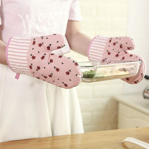 1Pcs Oven Mitts Cotton Baking Anti-Hot Heat Resistant Gloves Pad Oven Microwave Insulation Mat Baking Kitchen Tools Oven Gloves