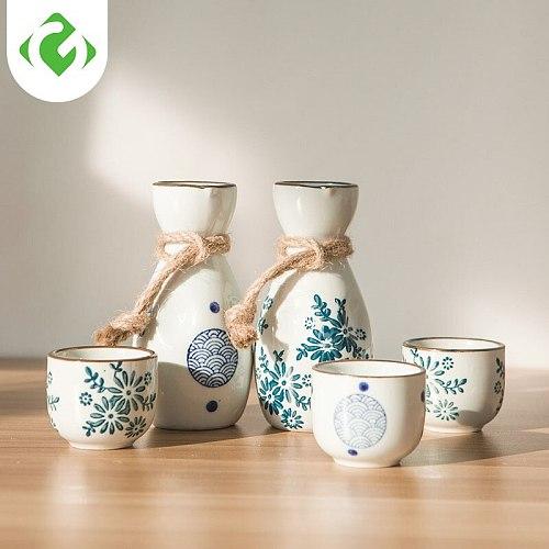 Chinese style mini wine set ceramic hip flask wine glass white wine drink