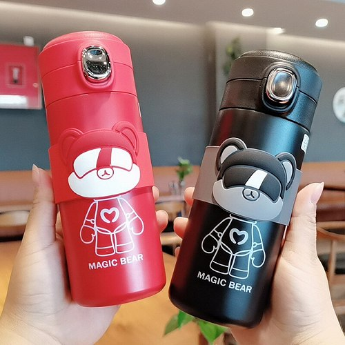 Cartoon cute vacuum flask bounce fashion doll Mug stainless steel Thermos flask couple student casual Tea cup for gift new year