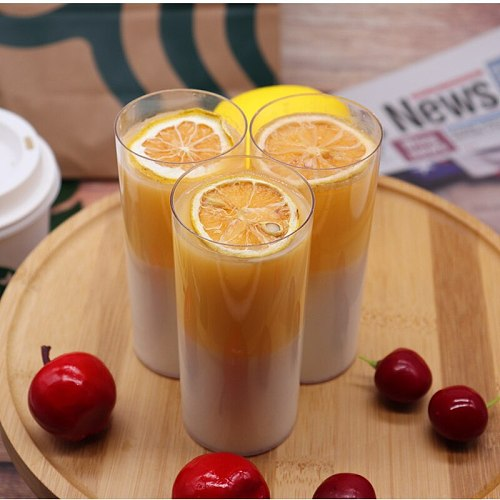 25pcs 200ml Disposable Plastic Cups Without Lid Transparent High Straight Food Container for Jelly Yogurt Mousses Dessert Baking