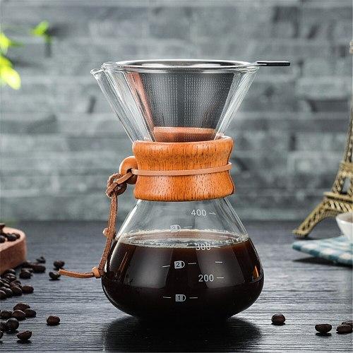 Pour Over 400 ML Glass Coffee Pot Coffee Pot Kitchen Tools Borosilicate Glass Espresso Coffee Housewear & Furnishings Glass Coff