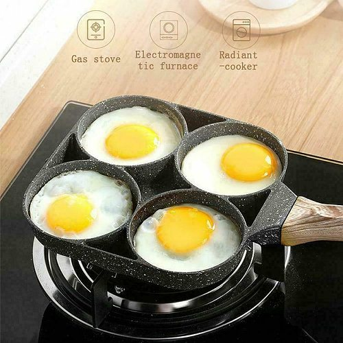 Four-hole Omelet Pan Frying Pot Thickened Pan Non-stick Egg Pancake Steak Pan Cooking Egg Breakfast Maker Cookware Cooking Pot