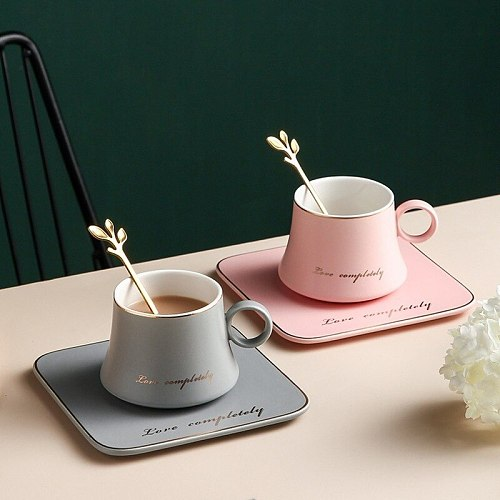 Classic Ceramic Mug Creative Phnom Penh Coffee Cup and Saucer Set Dessert Afternoon Tea Tableware with Tray Spoon Couple Cup