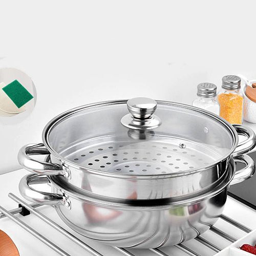 1Pc 28cm Multifunctional Steam Pot Double Layers Stockpot Stainless Steel Steamer Cooking Boiler Silver