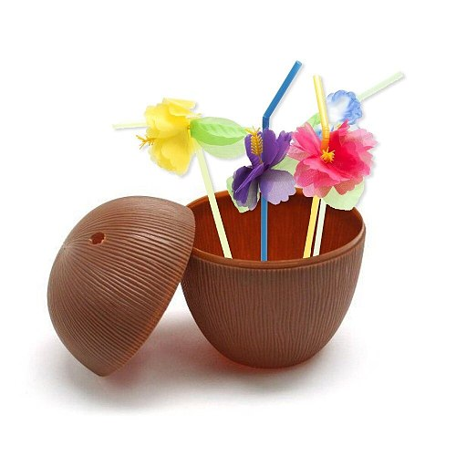 Plastic Coconut Cups For Fun Hawaiian Luau Children Parties Bulk 12 Pack Comes With Straw And Flower Tiki And Beach Theme Party