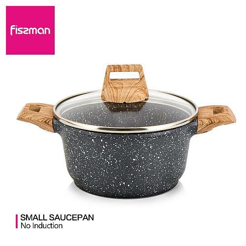 FISSMAN 14cm Mini Casserole with Lid Non-stick Marble Coating Aluminium CD Bottom Cooker BILLA Series Shallow Pot Gas Cooker