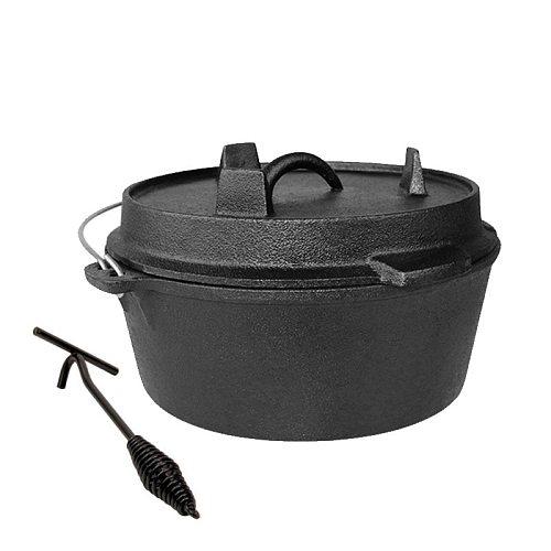 25cm Cast Iron Dutch Oven Camping Pot Outdoor Portable Multi-function Cookware Stew Pot Barbecue Pot Soup Picnic Pot