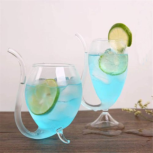 Wine Whiskey Glass Heat Resistant Glass Sucking Juice Milk Cup Tea Wine Cup With Drinking Tube Straw Transparent Vampire-goblet