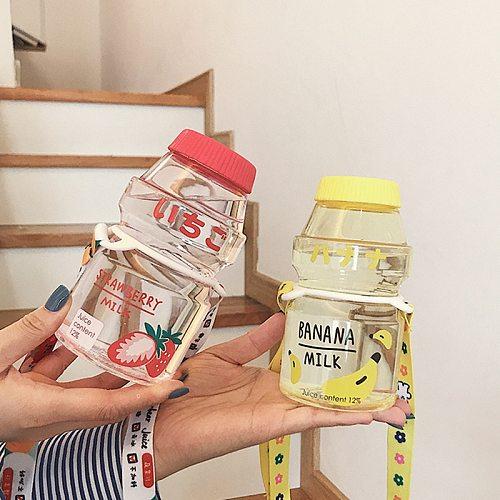 Plastic bottles milk yogurt disposable plastic beverage bottles milk tea juice aluminum lid easy to carry personalized party cup