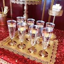 AFBC 24Pcs 150 Ml Plastic Rose Gold Rimmed Clear Hard Disposable Party Wedding Cups Premium Fancy Champagne Glasses Flutes