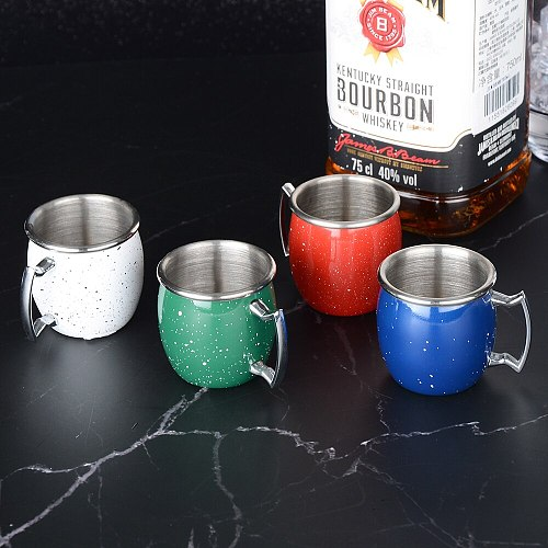 QUEENBAR 4pcs 60ml Starry Sky Cup Bar Cocktail Shot Glass Stainless Steel Moscow Mule Mugs Cups Bar Spirit Glass Glasses Of Wine
