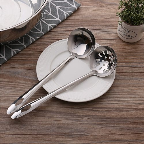 2pcs 7cm Stainless steel Spoon + Colander Hot Pot Long Handle Spoons Flatware Soup Drinking Tools Kitchen Gadget Drop Shipping