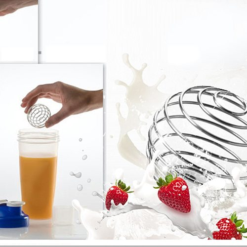 1/4Pcs Stainless Steel Whisk Ball Mixed Shaker Bottle Protein Fitness Water Bottle Juice Milk Mixer Mixing Bar Drink Gadgets Set