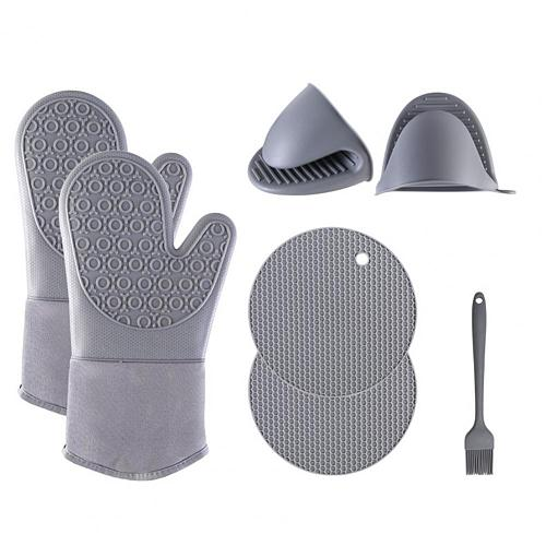 1 Set Multifunctional Heat Resistant Silicone Non-slip Durable Oven Pot Microwave Gloves Potholder Kitchen Oven Mitts Set