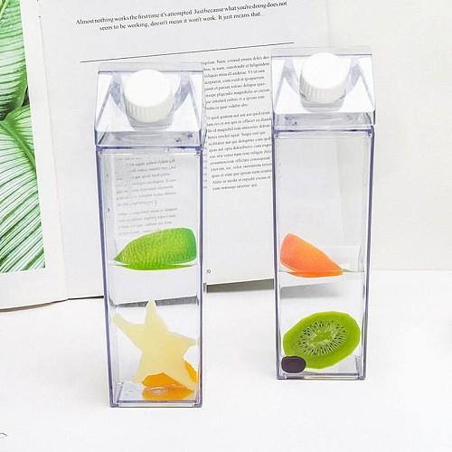 500ml Transparent Milk Water Bottle Drinkware Shaker Sports Square Milk Water Juice Bottle For Outdoor Climbing Camping Travel