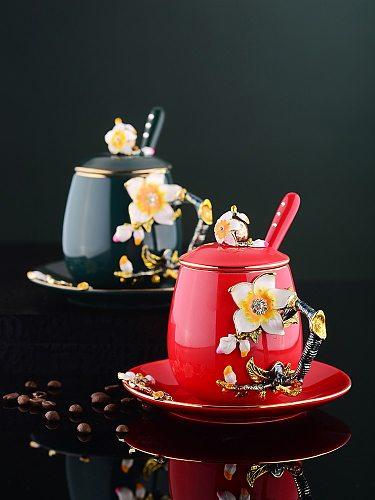 Handmade Cup Saucer with Lid set High-Grade Coffee Cup Saucer Set Retro Coffee Mug Ceramic Tea Cup sets Afternoon Tea Cups