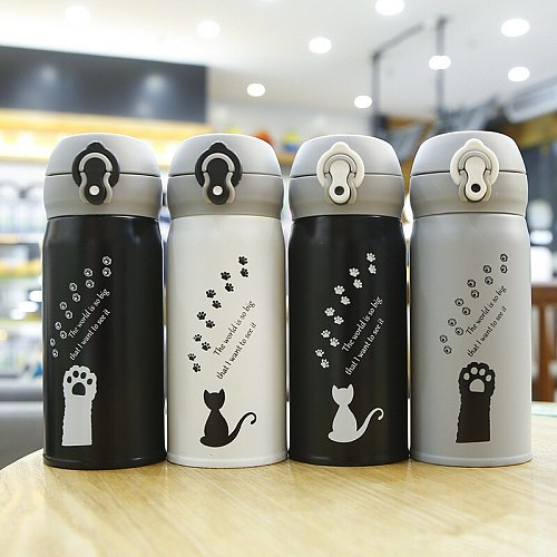 350ml Cartoon Cat Thermos Mug Cute Portable Stainless Steel Vacuum Flasks Thermal Water Bottle Tumbler Thermocup
