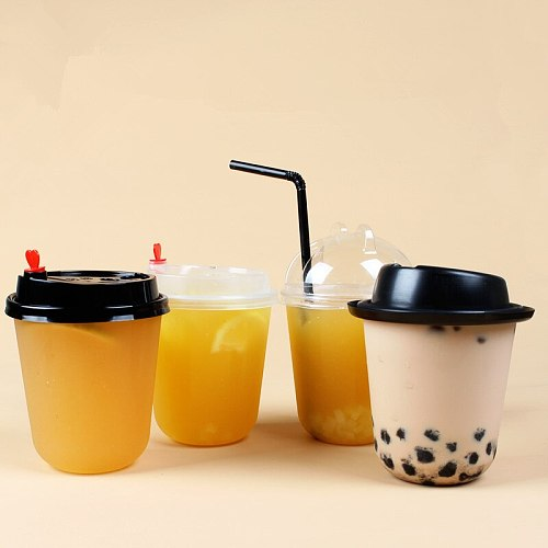 50pcs High quality U shape transparent disposable drink cup 360ml birthday BBQ party coffee tea juice plastic cups with lid