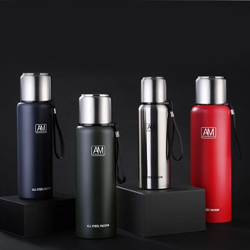Large-capacity Thermos Stainless Steel Vacuum Flask for 500ml 1000ml Outdoor Travel Thermal Mug with Rope Insulated Bottle Car