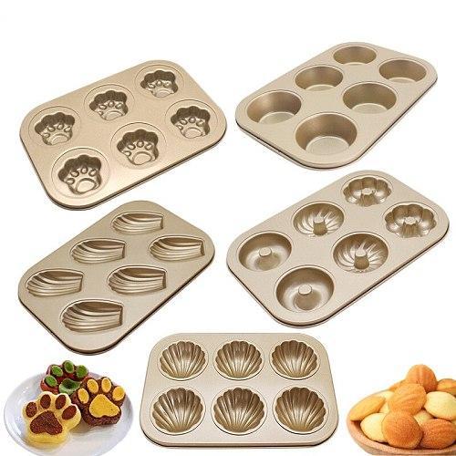 6 Cavity Baking Pan Carbon Steel Cake Baking Mold Baking Tray Non-Stick Muffin DIY Cartoon Cake Pan Mould Bakeware Pan Molds