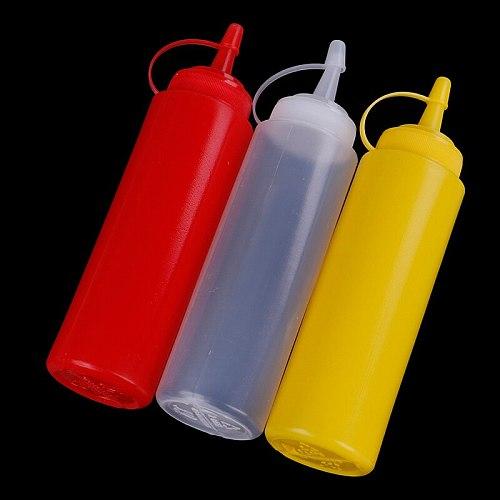 Sauce Vinegar Oil Ketchup Gravy Cruet Kitchen Accessories Gravy Boat Plastic Condiment Dispenser 8oz Squeeze Bottle
