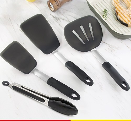 Silicone Turner Spatula Set  Heat-Resistant Creative Crooked Cooking Utensil Set Eggs Pancakes Fish Nonstick Cookware