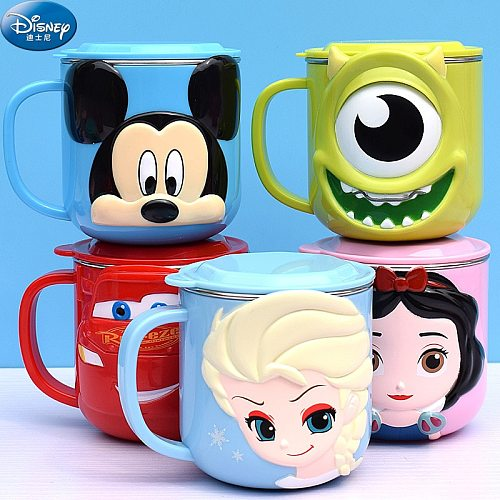 Disney Snow White Lilo Stitch Water Cup Home Milk Cup Kindergarten Stainless Steel Mug Baby Drinking Cup with Lid for Children