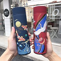 450ml Chinese Style Insulation Tumbler Coffee Mug Stainless Steel Vacuum Flask With Filter Travel Mug Leakproof Sport Thermo Cup