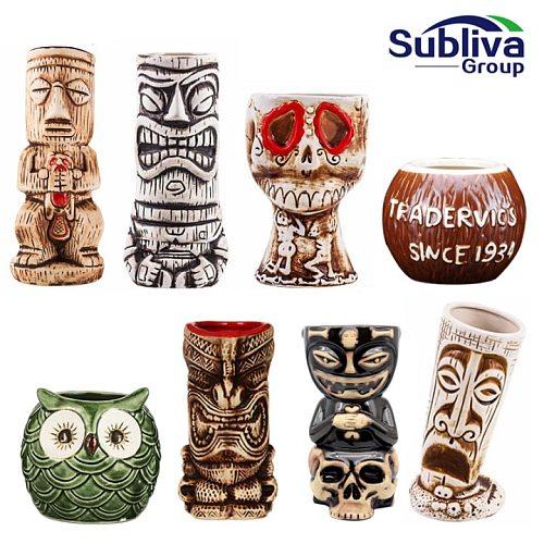 New Hawaii Tiki Mugs Cocktail Cup Beer Beverage Mug Wine Mug Ceramic Easter Islander Tiki Mug