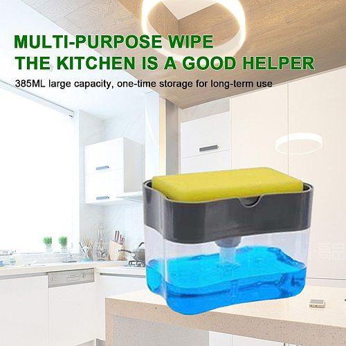 2 in 1 Soap Dispenser Pump With Sponge Holder Countertop Dishwashing Liquid Dispenser Container Hand Press Soap Organizer
