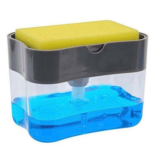 Soap Dispenser Soap Pump Sponge Caddy New Creative Kitchen 2-in-1 Manual Press Liquid Soap Dispenser With Washing Sponge