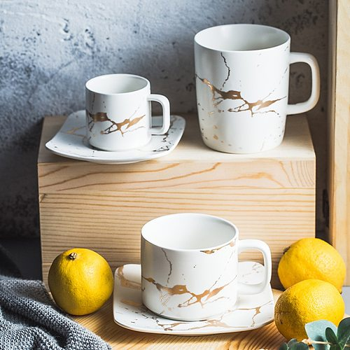 MUZITY Ceramic Tea Cup And Saucer Set Creative Golden Design Porcelain Tea Cup Set Black Coffee Cup Set Drinkware