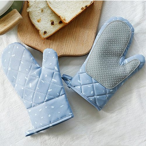 2pcs Microwave Glove Houshold Non-slip Cotton BBQ Oven Mitts Baking Gloves Heat Resistant Kitchen Potholders Silicone Oven Mitts