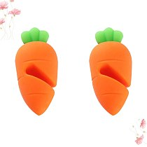2pcs Silicone Carrot Design Spill-proof Pot Lid Rack Creative Overflow Stoppers Pot Cover Lifter for Kitchen