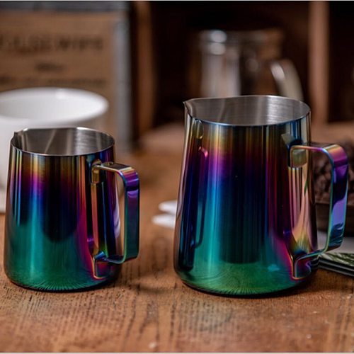 Stainless Steel Frothing jug Espresso 350 600ml Coffee Pitcher Barista Craft Coffee Latte Milk Frothing Jug Colorful Pitcher Mug
