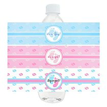 24Pcs Boy Or Girl Gender Reveal Party Mineral Water Bottle Label Stickers Baby Shower Birthday  Christening Decoration Supplies