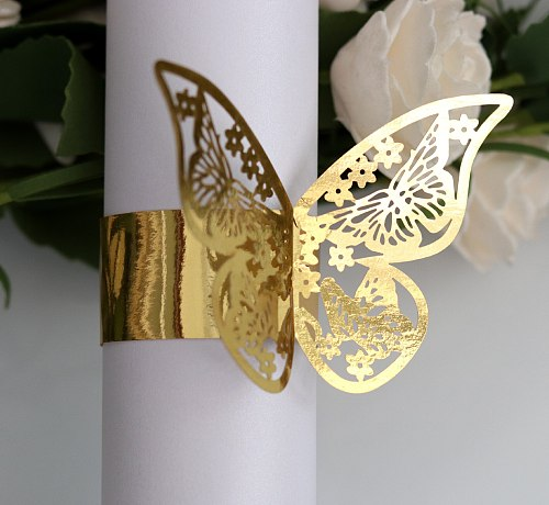 50pcs Creative Hollow Butterfly Napkin Ring Buckle Reflective Gold Paper Wedding Party Towel Decoration Wholesale