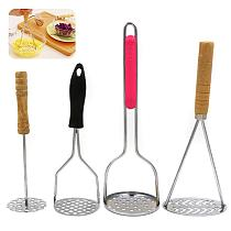 Non Slip Handle Stainless For Smooth Mashed Potatoes Fruit Vegetable Tools Press Crusher Blender Tool Kitchen Gadget