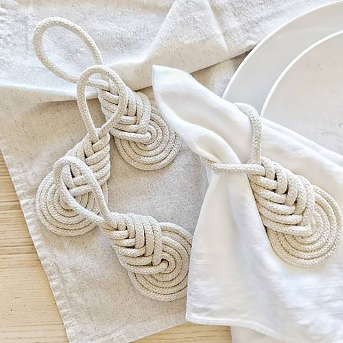 4Pcs Cotton Rope Napkin Ring European Style Napkin Holders Dinner Table Decorate DIY Handmade Crafts Party Supplies