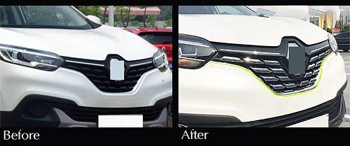 For Renault Kadjar 2016 2017 2018 2019 Front Mesh Grille Cover Trim Bonnet Garnish Molding Guard Protector Car Styling Stickers